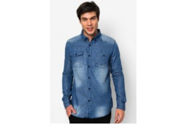 Printed Long Sleeve Shirt With Pocket