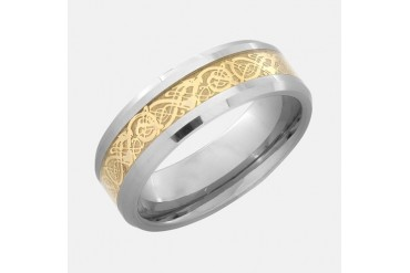 Light Tungsten Ring With Golden Dragon Inlay