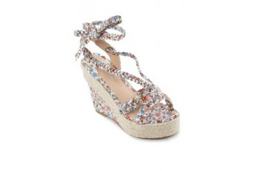 Amy Floral Strappy Espadrille Wedges
