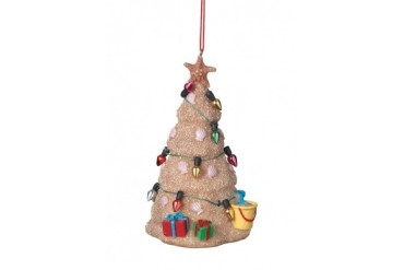 Coastal Sand Sculpture with Ornaments and Lights Christmas Tree Ornament