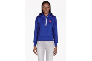 Comme Des Garons Play Royal Blue Emblem Hooded Sweater