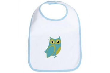 Blue Green Bow Owl Animal Bib by CafePress