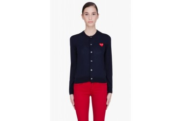 Comme Des Garons Play Navy Heart Cardigan