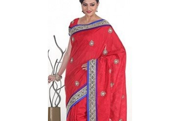 Traditional Red Raw Silk Saree