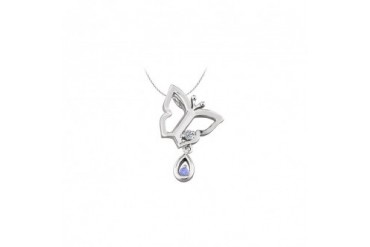 ndant Necklace with CZ and Created Tanzanite in Sterling Silver 0.05 CT TGW