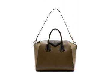Givenchy Olive Leather Antigona Medium Duffle Bag