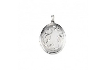 26mm Satin and Polished Floral Oval Locket in Sterling Silver