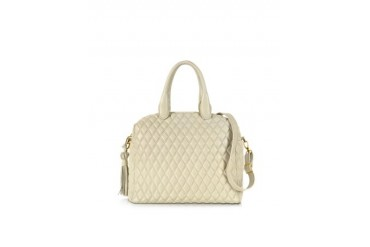 Ivory Quilted Leather Satchel