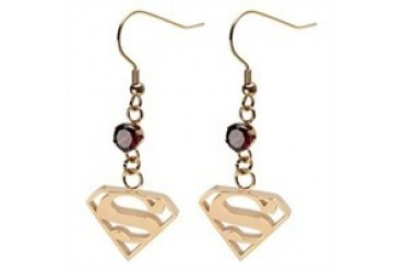 DC Comics Superman Logo Dangle Gold Red Gem Stainless Steel Earrings