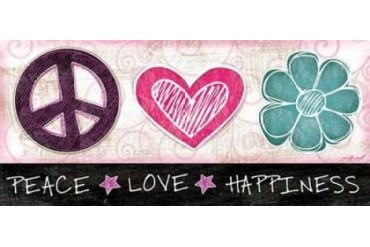 Peace Love Happiness Poster Print by Jennifer Pugh (24 x 48)