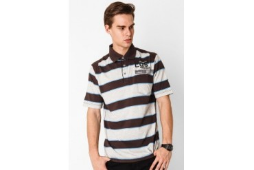 L'GS Casual Short Sleeve Stripes Polo-Tee