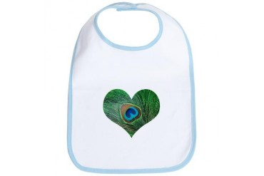 Sparkly Green Peacock Heart Animal Bib by CafePress