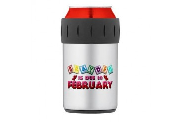 Brayden is Due in February.png Thermos Can Cooler Love Thermosreg; Can Cooler by CafePress