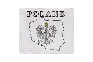 Poland Map With Eagle Stadium Blanket Polish Throw Blanket by CafePress