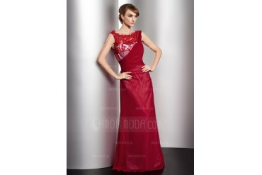 A-Line/Princess Scoop Neck Floor-Length Chiffon Tulle Mother of the Bride Dress With Lace Beading Sequins (008014592)