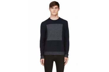 Rag And Bone Navy And Grey Contrast Knit Joel Sweater