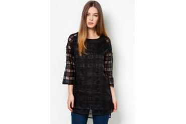 Another Cheque Organza Long Blouse
