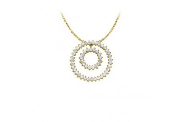 conia Double Circle Pendant in Yellow Gold Vermeil with 16 Inch Free Chain