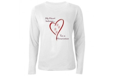Pomeranian Heart Belongs Women's Long Sleeve T-Shi Pets Women's Long Sleeve T-Shirt by CafePress
