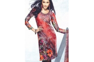 Inspiring Red Digital Printed Kurti