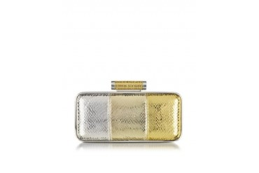 Sigma Silver and Gold Snake Print Clutch