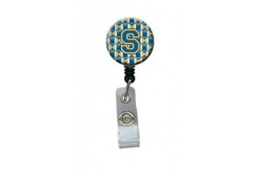 Letter S Football Blue and Gold Retractable Badge Reel