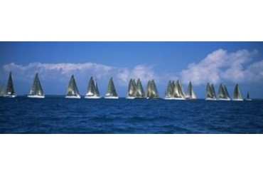 Sailboats racing in the sea, Farr 40 s race during Key West Race Week,