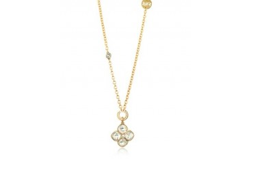 Candy - 18 KT Yellow Gold Over Bronze Necklace W/ Flower Charm