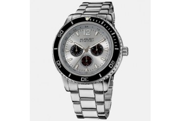 August Steiner Men s Quartz Divers Watch - Silver