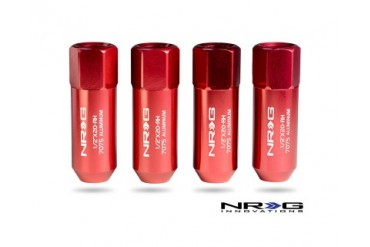 NRG Red 4 Piece Extended .5inch x 20-RH Lug Nut Set Universal
