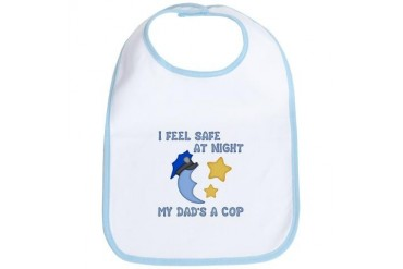 Safe at Night dad Police baby Bib by CafePress