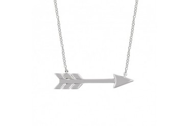Dainty Horizontal Arrow Necklace in 14K White Gold, 18 inch