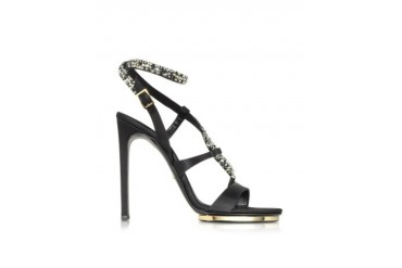 Black Satin and Crystals Sandals