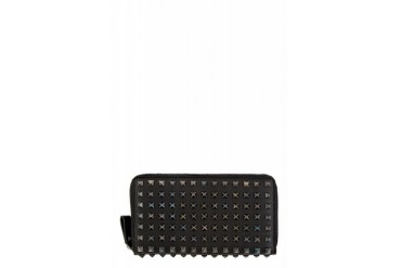 Valentino Black Leather Full Rockstud Continental Wallet