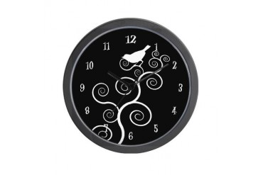 black and white Nature Wall Clock by CafePress