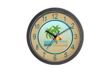 Art Deco Palm Trees Beach Wall Clock by CafePress