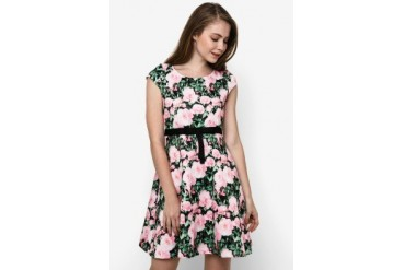 Chic Simple Cap Sleeve Floral Print Flare Dress