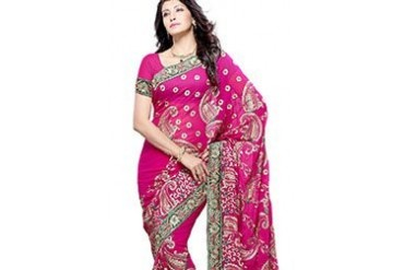 Pink Resham Enhanced Georgette Saree