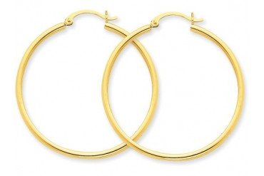 14k Polished 2mm Hoop Earrings