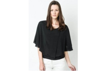 Batwing Top With Gold Button Accent- CA