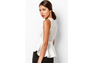 EZRA by ZALORA Lace-Back Peplum Top