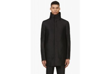 Thamanyah Black Funnel Collar Coat