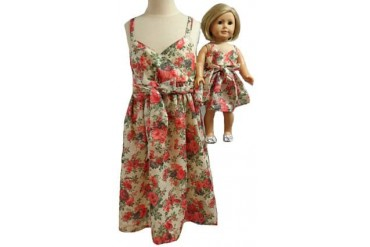 Matching Girl amp Doll Clothes Red Flower Sundress Size 8