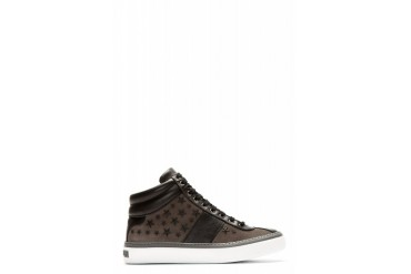 Jimmy Choo Grey Glitter Stars Belgravi High top Sneakers