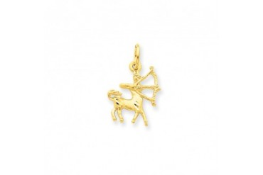 Sagittarius the Archer Zodiac Satin and Diamond-cut Charm in 14K Gold