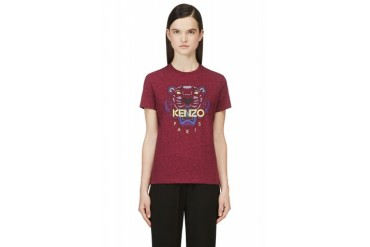 Kenzo Heathered Fuchsia Tiger Logo T shirt