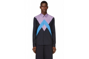 Kenzo Purple And Blue Patchworked Twin Peaks Shirt