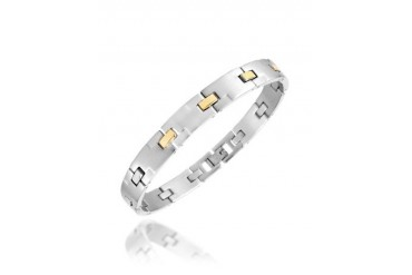 Zo-Chain Brushed Stainless Steel and 18K Gold Link Bracelet