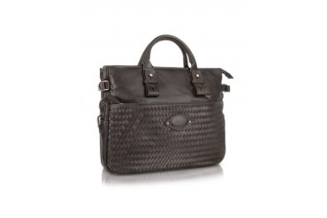 Dark Brown Woven Calf Leather Business Bag