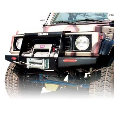 calmini mfg. suzuki samurai front winch bumper in black powder
